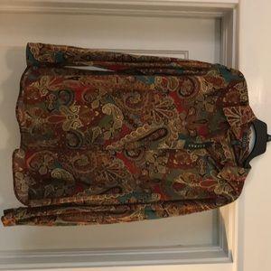 Ralph Lauren print button down blouse